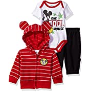 Disney Baby Boys' Mickey Mouse 3 Piece Hoodie, Bodysuit Or T-Shirt, Pant Set, Chinese Red, 3-6 Months