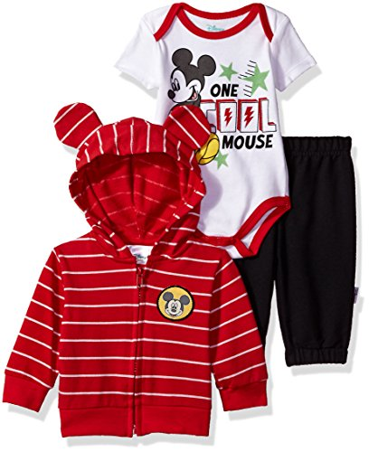 Disney Baby Boys' Mickey Mouse 3 Piece Hoodie, Bodysuit OR T-Shirt, Pant Set, Chinese Red, 6-9 Months
