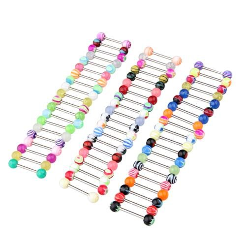 FACILLA® 60 PIERCING DE LANGUE EN 316L ACIER MULTICOLORE BARBELL