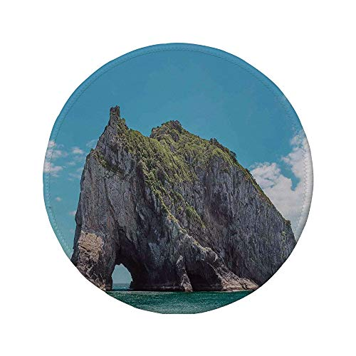 Non-Slip Rubber Round Mouse Pad,Seaside Decor,Famous Elephant Shape Rock with The Grand Hole in Bay of Islands Nz Cavern Peace Photo,Blue Grey,7.87
