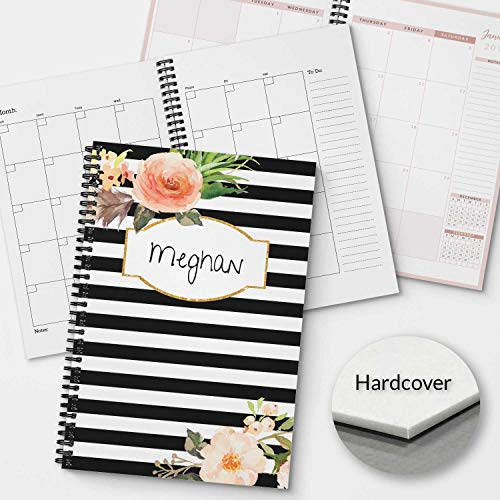 HARDCOVER Classic Floral Personalized Monthly and Weekly Planner and Organizer, 1 full year, DATED or UNDATED OPTION, Soft Cover, lay flat wire-o spiral binding, Available in 2 sizes. -