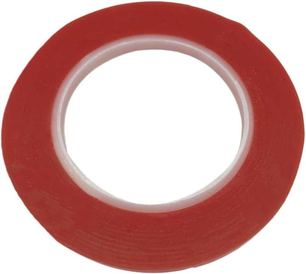 Lodenlli Profesional 25 Metros Impermeable Pel/ícula Roja Transparente Doble Cara Adhesivo Fuerte Cinta de Resistencia a Alta Temperatura 2mm Ancho