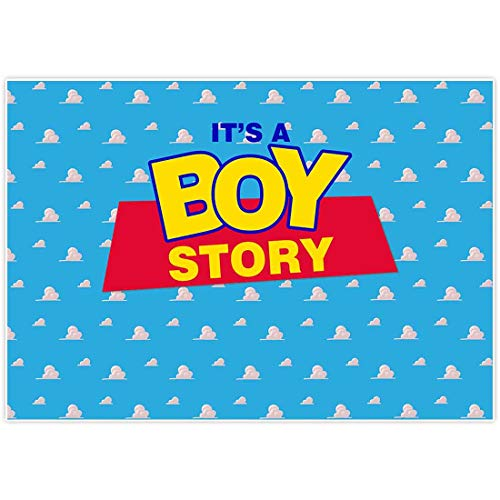 Allenjoy 7x5ft Blue Sky Backdrop for It's a Boy Story 1st First Happy Birthday Party Decoration Supplies Baby Shower Toy Prince Cartoon Holiday Poster Photo Booth Background Decor Banner