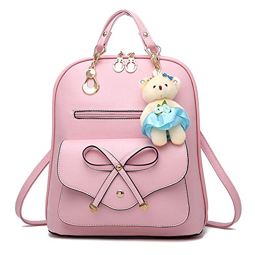 Casual Women Dual Backpack match All Pink Bag Korean Backpack Multi purpose Bag Lady functional Travel CCvaq