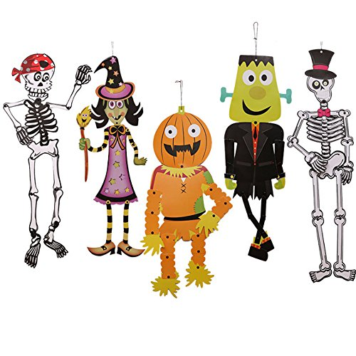5 Pack Halloween Decorations DIY Skeleton Paper for Home Decor or Halloween Party Decorations