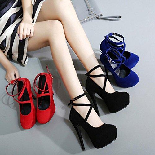 Upxiang Womens Sexy Straps Heels Schuhe Frühjahr Dünne Ferse Flache Runde Toe High Heels Schuhe Rot