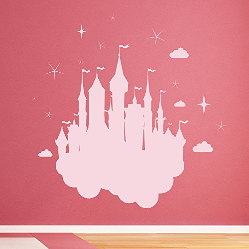 Enchanted Castle Wall Sticker Fairytale Princess Wall Decal Girls Home Decor available in 5 Sizes and 25 colors X-Large White