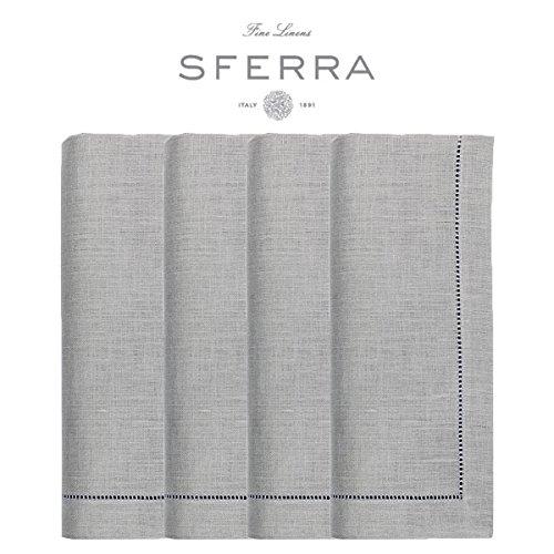 Sferra Festival 100% Linen Hemstitched Dinner Napkins - Grey