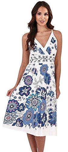 Cachemire Floral Robe Bleu Pistachio Femmes Fleur Motif Crois 2 Imprime Rayures Front Blanc qwIaPw8