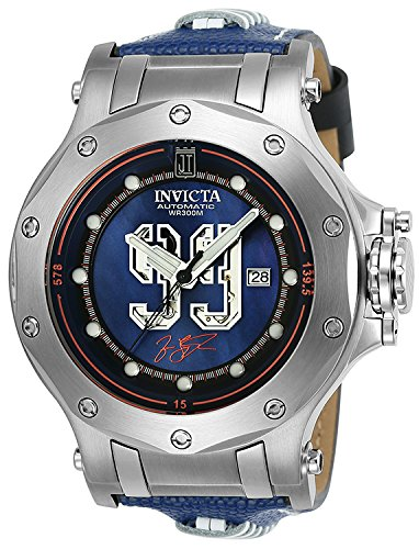 Invicta Men's 'JT' Automatic Stainless Steel and Leather Casual Watch, Color:Black (Model: 25321)