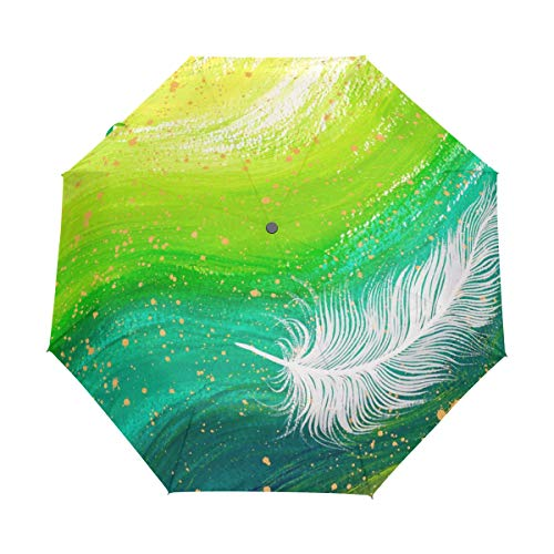 (Green Swirl White Feather Painting Compact Travel Umbrella Automatic Waterproof Reinforced Canopy for Men and Women Traveler)