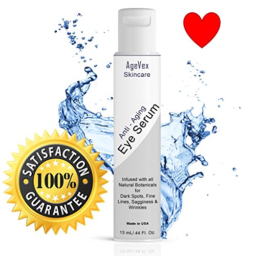 Organic Anti-Aging Eye Serum a Refined Eye Cream for Dark Circles Wrinkles Puffiness Fine Lines by AgeVex : Natural Ingredients w/Hyaluronic Acid & Peptides to Stimulate Collagen & Skin Cells