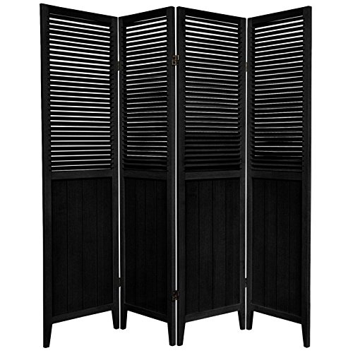 Oriental Furniture 6 ft. Tall Beadboard Divider - Black - 4 Panels (Panel Shutter Black)