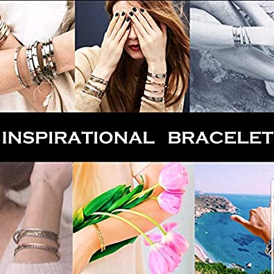 OhBooBa Inspirational Expandable Thin Engraved Message Keep Calm Fight ON Cuff Bangle Bracelets