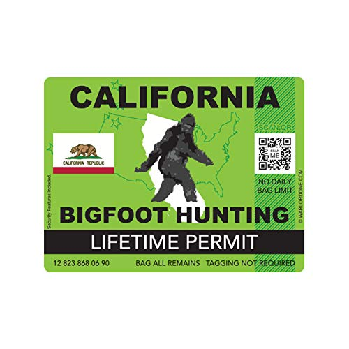 fagraphix California Bigfoot Hunting Permit Sticker Die Cut Decal Sasquatch Lifetime FA Vinyl - 4.00 Wide