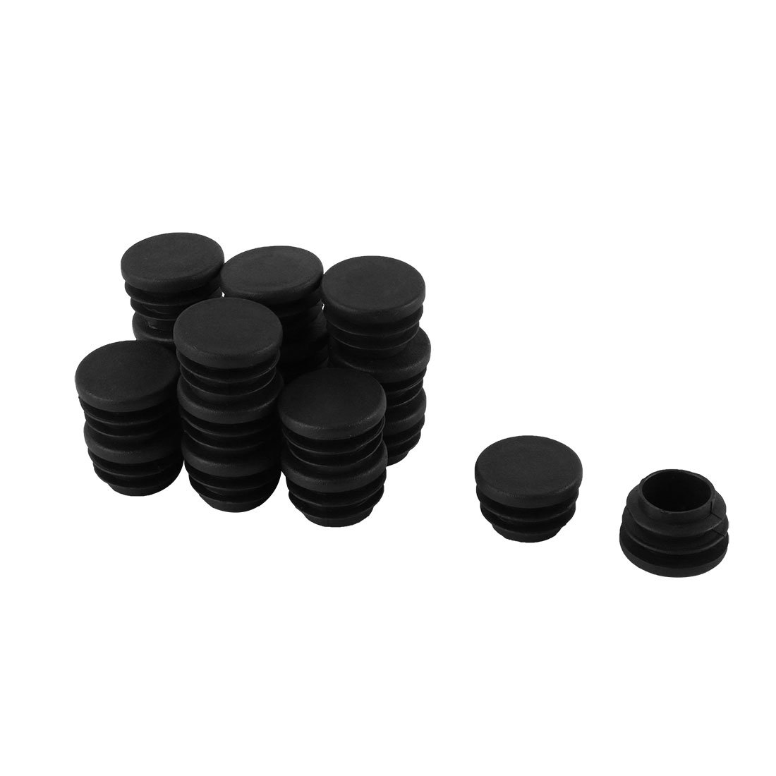Black Plastic 25mm Dia Blanking End Cap Round Pipe Tube Insert 18pcs SourcingMap a15031000ux0186