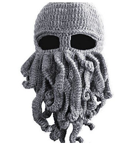 Gmasking Handmade Knitting Wool Octopus Adult Hat (Gray)+Gmask Keychain
