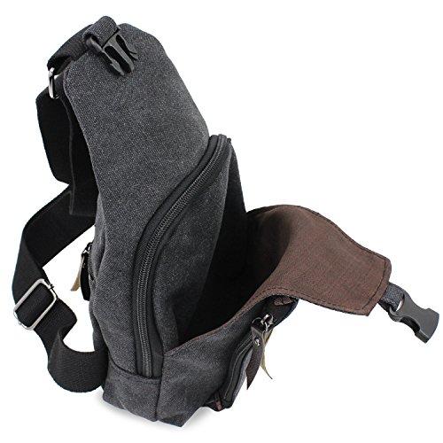 Negro la lona Sling viaje bolsa de hombro de Senderismo PsmGoods® hombres bolsillo pecho Ocio bolsa Mochila zZqxga