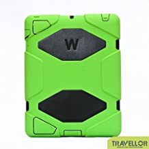 iPad 2, iPad 3, iPad 4 Case, Travellor® [Shockproof] [Heavy Duty] [Military] Extreme Tough & Drop Resistance Soft Silicone Case with Kickstand for Apple iPad 2/3/4. (Whistle + Stylus Pen + Carabiner) (Green-Black)