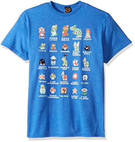 Nintendo Men's Pixel Cast T-Shirt, Premium Royal Heather, 2XL]()
