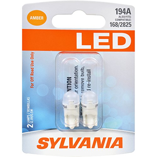 SYLVANIA - 194 T10 W5W LED Amber Mini Bulb - Bright LED Bulb, Ideal for Interior Lighting (Contains 2 Bulbs)