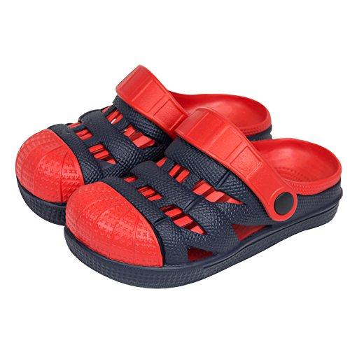 Sabot zoccoli slip on ciabatte in materiale EVA per bambini, taglia 28, colore: blu / rosso
