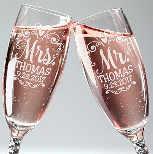 Mr Mrs Wedding Reception Celebration Twisty Stem Champagne Glasses Set of 2 Couples Newlywed Married Gift Groom Bride Husband Wife Anniversary Engraved CLEAR Flute Glass Favors (Personalized) (Reception Toasting Flutes)