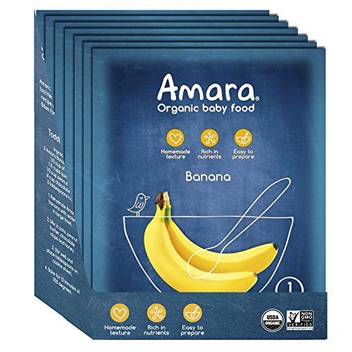 - Amara Organic Baby Food, Banana, Healthy Baby & Infant Food, Travel Size, Mix Fresh with Breastmilk, Formula or Water - Stage 1 (7 Pouches)