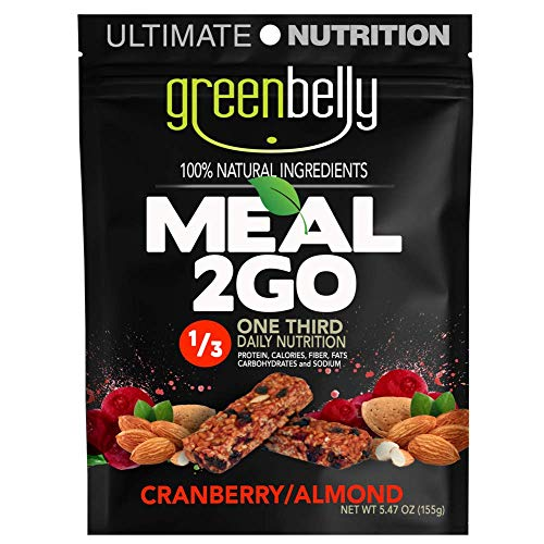 Greenbelly Backpacking Meals – Backpacking Food, Appalachian Trail Food Bars, Ultralight, Non-Cook, High-Calorie, Gluten-Free, Ready-to-Eat, All Natural Meal Bars (Cranberry Almond, 12 Meals)