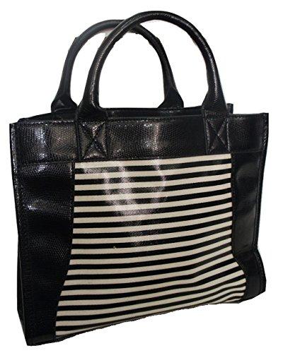 JOHN Part Double White Stripe amp; Handle 3 Black LEWIS Bag x4F7x