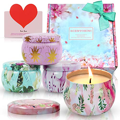SCENTORINI Scented Candles Gift Set,Large Size 4X4.4oz, Blush Peony, Cinnamon Apple, French Lavender and Velvet Rose, Soy Wax Handmade Aromatherapy Candle for Valentine's Day