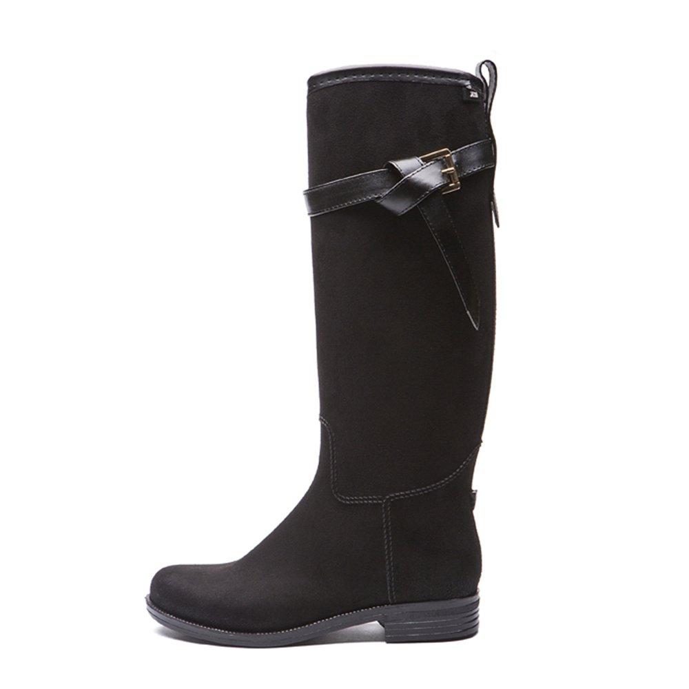 Wagsiyi Regenschuhe Martin High Tube PVC Stiefel Lange Stiefel Erwachsene Regen Schuhe Damen Frühling Anti-Rutsch-Regenstiefel (Farbe   Schwarz, Größe   37 1 3 EU)
