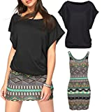 Rainlover Women's 2 Piece Casual Loose T Shirt Tops Print Bodycon Mini Tank Dresses (XX-Large, Black-2)