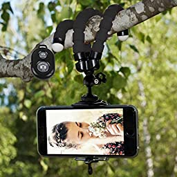 IPhone Tripod,By Ailun,Tripod mount/stand,Phone Holder,Small&Light,for iPhone 7/7plus,6/6s,6/6s Plus,SE/5s/5/5c,Galaxy S7 Edge,S6/S6 Edge,Note 5/4/3 More Cellphone,Camera with Remote[Non Battery Pack]