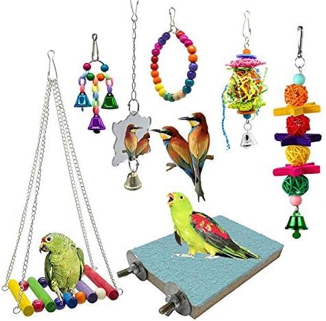 SHANTU 7 Packs Bird Swing Chewing Toys-