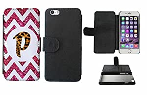 Leopard Print Custom Monogrammed and Pink Glitter Chevron Initial P Leather Phone Case Cover with Credit Card Holder Apple iPhone 6 (4.7 Inches)