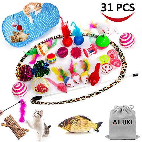 AILUKI 31 PCS Cat Toys Kitten Toys Assortments, Variety Catnip Toy Set Including 2 Way Tunnel,Cat Feather Teaser,Catnip Fish,Mice,Colorful Balls and Bells for Cat,Puppy,Kitty