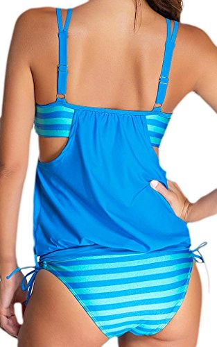 de ba ba mujer Traje de 365 claro traje de o arriba azul de rayas Doble de Top 2pcs Tankini compras o Bikini 4dxq5qTwf