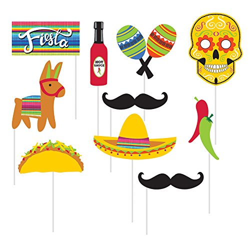 10-Piece Photo Props For Party, Serape Fiesta Fiesta Fun Party Maracas