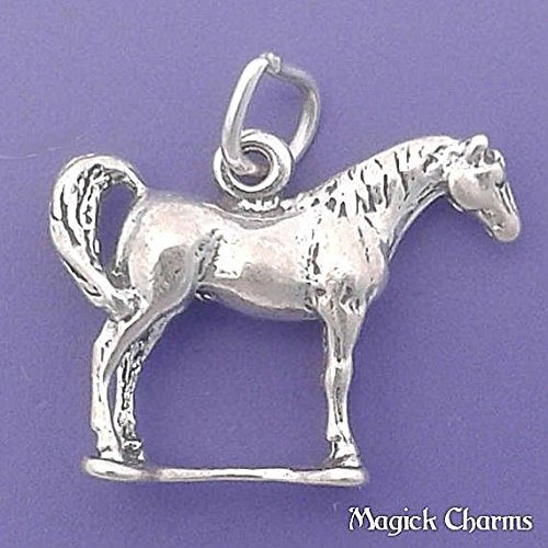 925 Sterling Silver 3-D Arabian Horse Charm Pendant Jewelry Making Supply, Pendant, Charms, Bracelet, DIY Crafting by Wholesale Charms