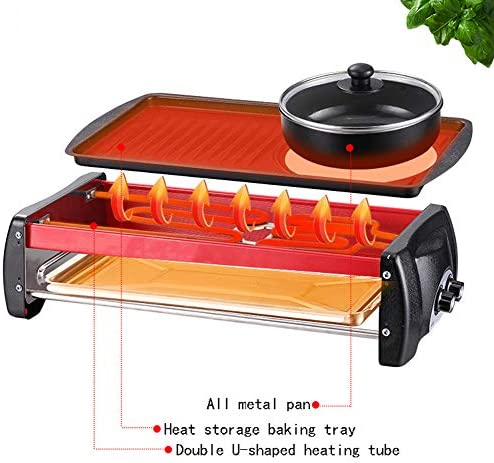JFSKD Casserole pour Barbecue Multifonction électrique Hot Pot Coréen Grill électrique sans fumée Grande capacité Ménage Multifonctionnel Non-Stick Pan Barbecue Pot