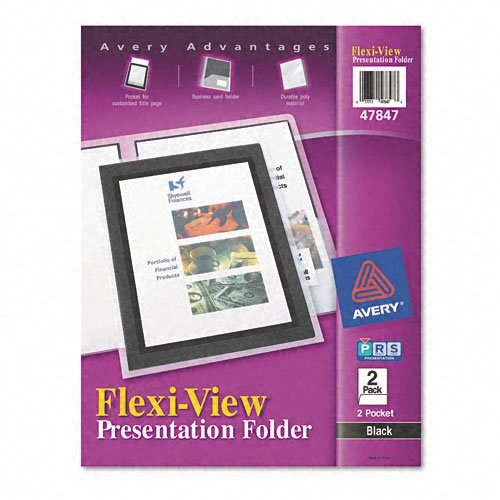 - Avery : Flexi-View Two-Pocket Polypropylene Folder, Translucent Black, Two per Pack -:- Sold as 2 Packs of - 2 - / - Total of 4 Each