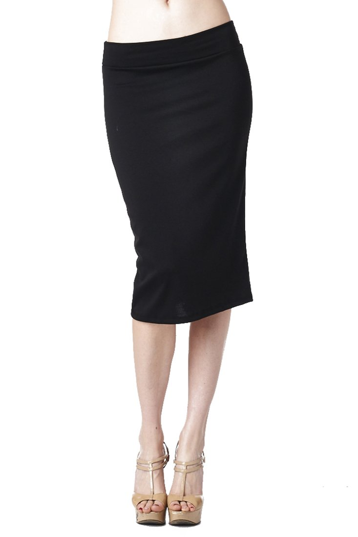 82-9014PT-BLK-XL Women'S Casual To Office Wear Below Knee Pencil Skirt - Black XL