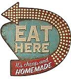 Creative Co-op Eat Here Tin Retro Wall Decor