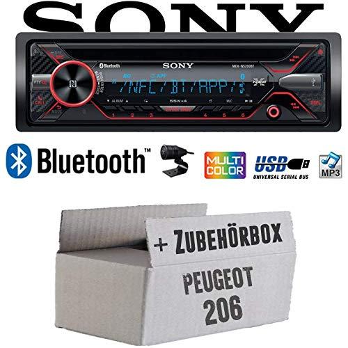 Peugeot 206 - Autoradio Radio Sony MEX-N5200BT - Bluetooth CD MP3 USB Auto - Einbauzubehö r - Einbauset JUST SOUND best choice for caraudio