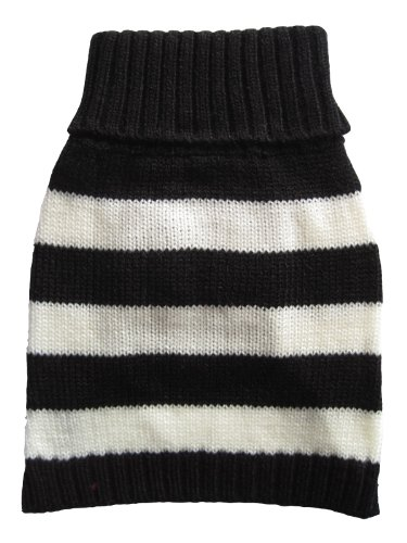 - Vedem Small Pet Dog Turtleneck Striped Knit Sweater Coat (Blakc/White, XS)