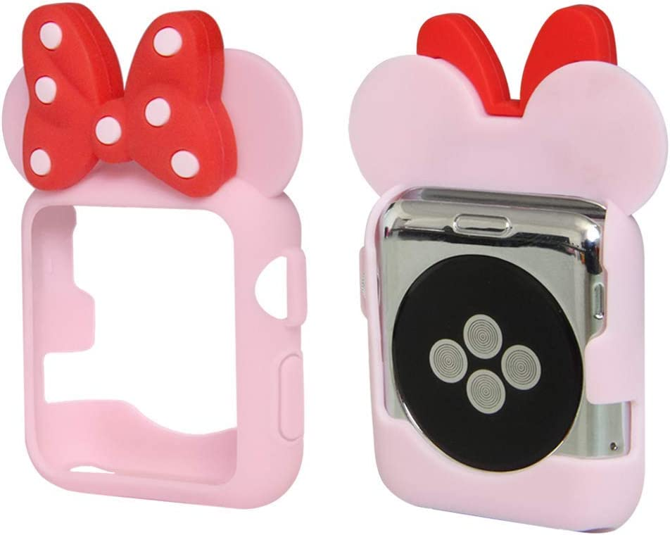 Tech Express 3D Mouse Ears Cartoon Character Case Polka Dot Bow Corner & Edge Compatible with Apple Watch [iWatch] Series 1, 2 & 3 Colorful Flexible TPU Cover Accessories (Pink/Red Bow, 38mm)