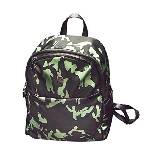 CHENGYANG Damen Einfache Camouflage Schulter Beutel Freizeit Leichter Rucksack Reise Daypack Grün#1 OHEIIJIOq