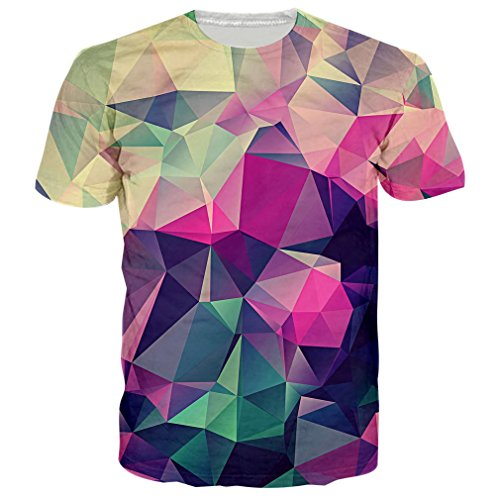 RAISEVERN Men's Short Sleeve T-Shirts Funny Prism Color Block Print Graphic Tees