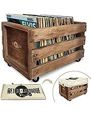 Houten LP Record Vinyl Opbergkrat op Wielen voor maximaal 100 albums, van Retro Musique